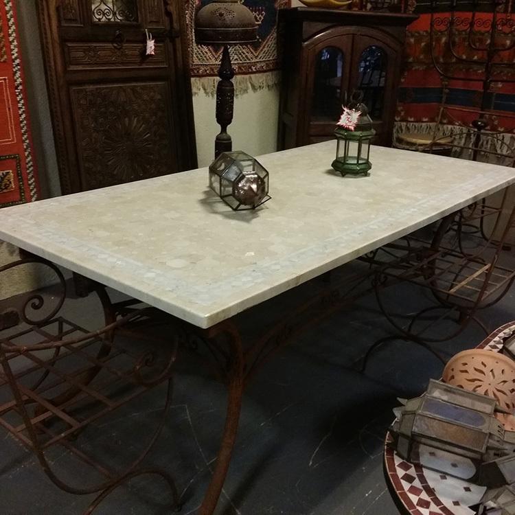 Table marbre blanc et beige 200X100